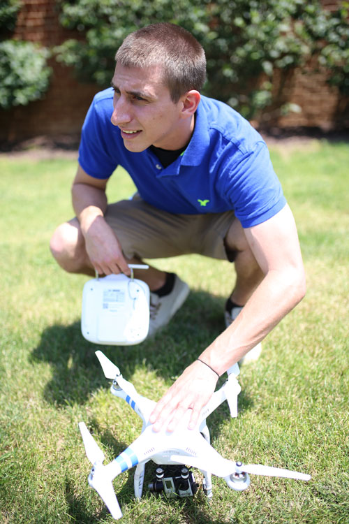 Anthony Sparks at Sparks Productions getting aerial footage with drone
